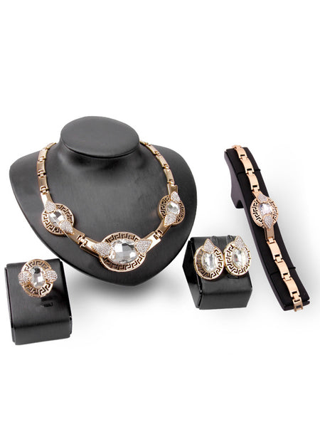LaceShe Fashion Gemstone Necklace Jewelry Set