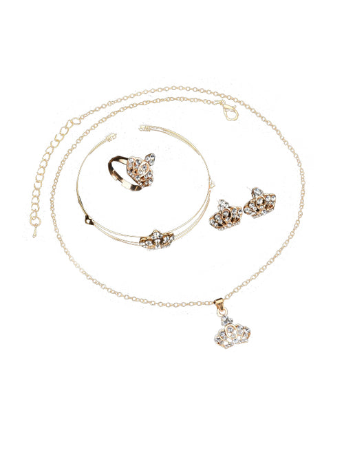 LaceShe Luxury Set Europe&United States Style Four-Piece Crown Jewelry