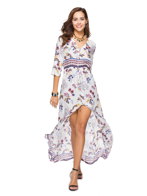LaceShe Women's Flowy Half Sleeve Front Split Summer Dress
