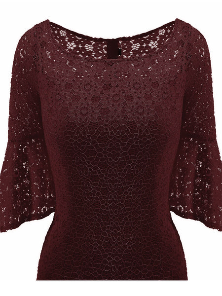 LaceShe Women's Sheath Half Sleeve Lace Dress