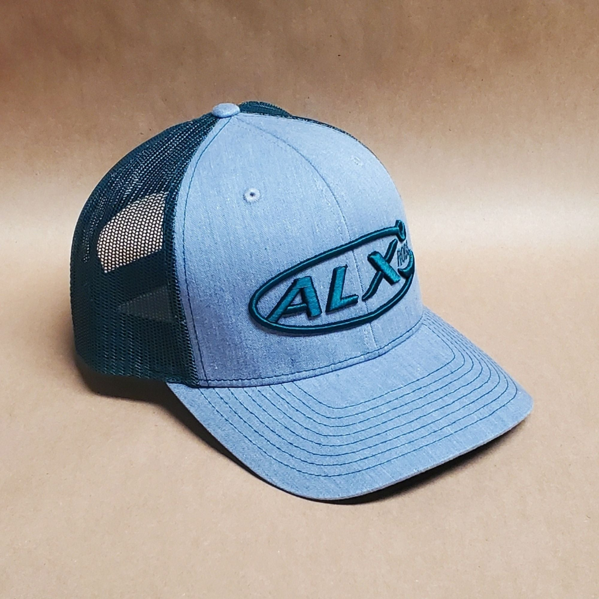ALX Heather Grey/Dark Green Mesh Trucker Richardson Hat