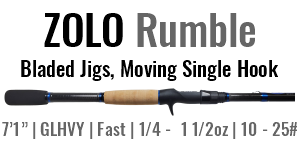 "ZOLO Rumble - 7'1"", Glass Heavy, Fast Casting Rod"