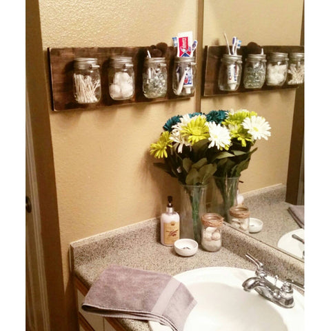 mason jar shelf | Small Bathroom Organization Products