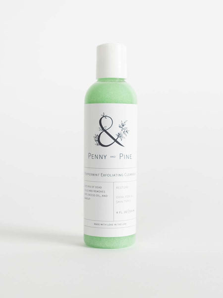 peppermint exfoliating cleanser penny and pine