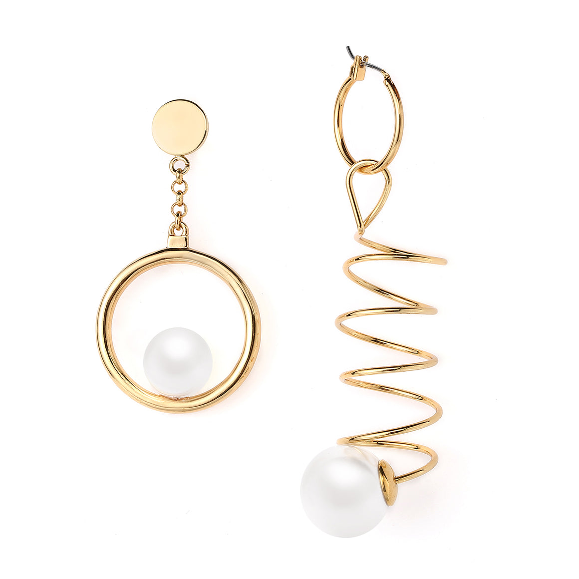 Asymmetric Dangle Earrings Pearl on Big Ring Exaggerate Spiraling Spring Ends Pearl