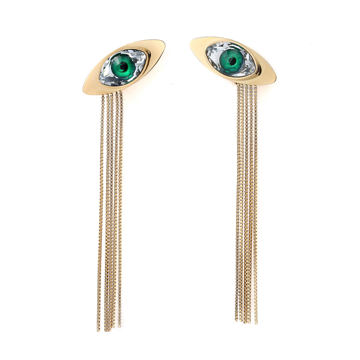 Evil Eye Stud Earrings Long Chain-Style Tassel