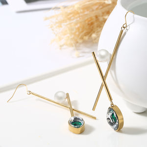 X-Shape Cross Bar Evil Eye Pearl Dangle Earring