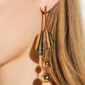 Dangling Drop Earrings Inspired from Cherry Leaves Round Fruits