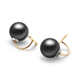 Artistic Stud Earrings with Black Pearls Gold Plated Stainless Steel