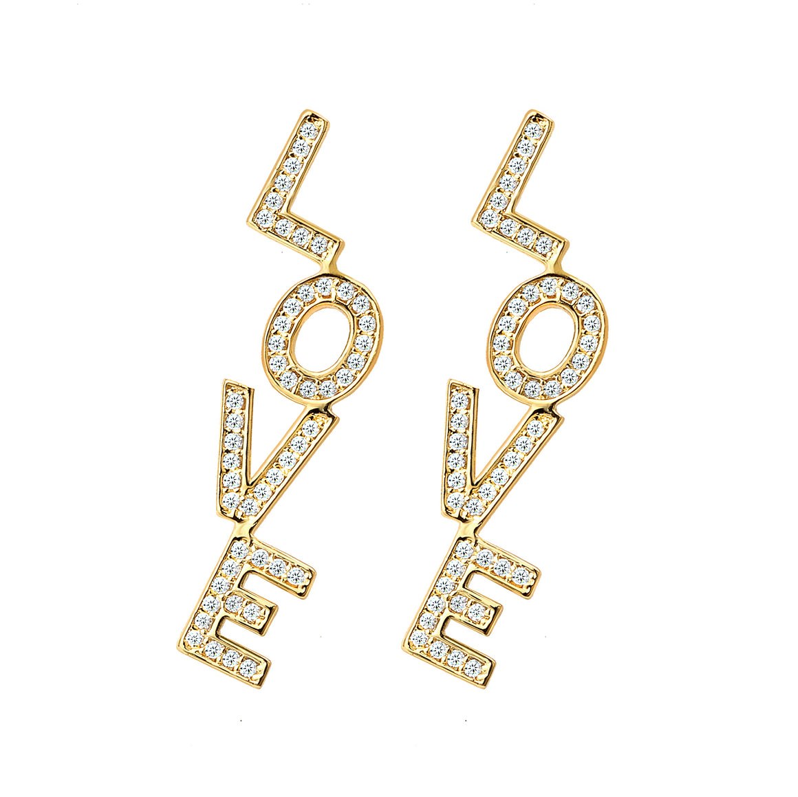 Love Earring Dangle, Clear CZ Paved Gold Framed Letter Style Earring