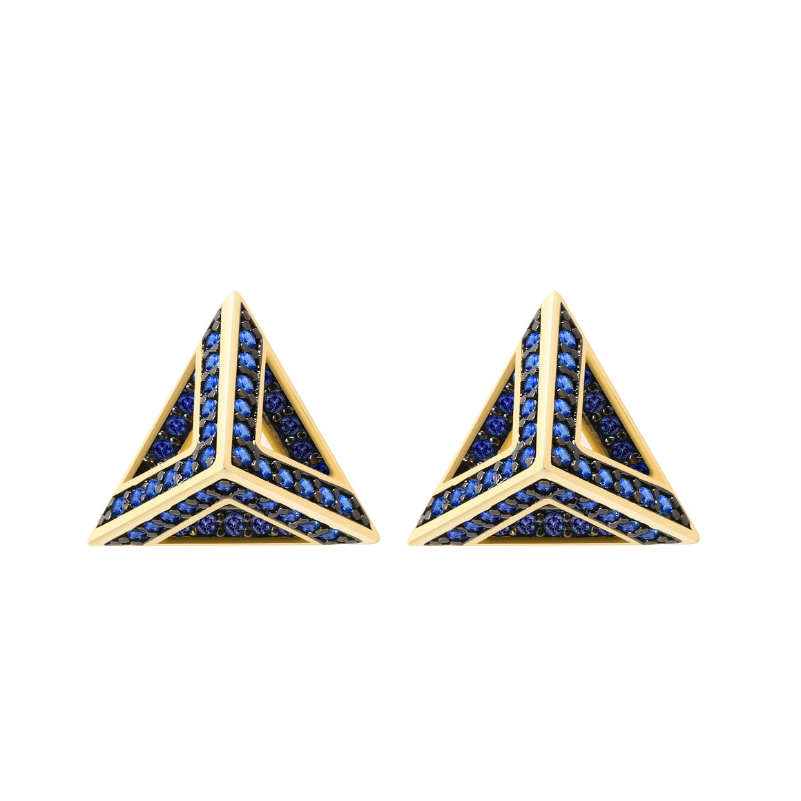 Pyramid Earring Studs, CZ Paved Gold Earrings (Capri Blue CZ)