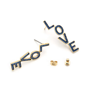 Love Earring Dangle, Capri-blue CZ Paved Gold Framed Earring