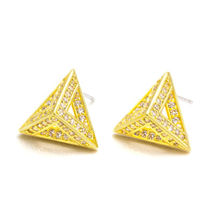 Pyramid Earring Studs, CZ Paved Gold Earrings (Clear CZ)