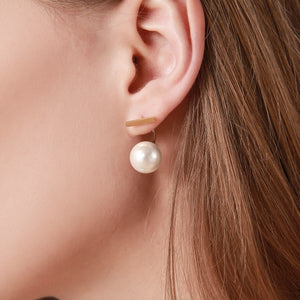 Artistic Stud Earrings with White Pearls Gold Plated Stainless Steel