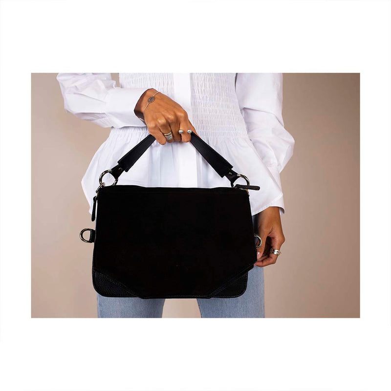 Black multifunctional bag with silver details with wide strap
