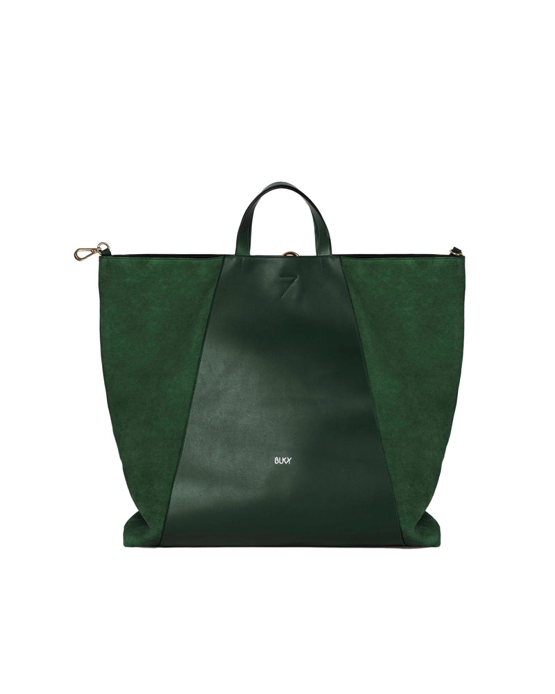 Green multifunctional bag with gold details