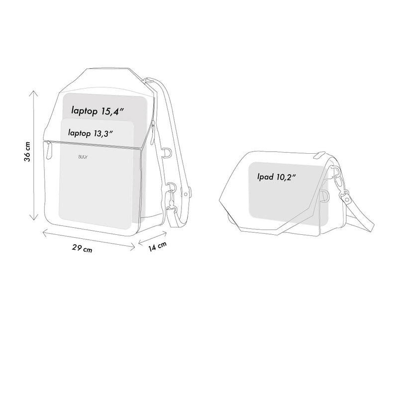 Dimensions of backpack and shoulder bag