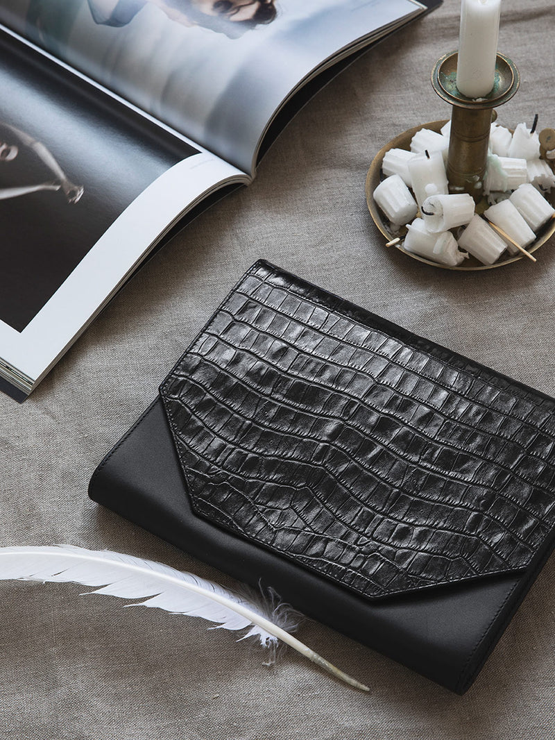 Black clutch with croco print