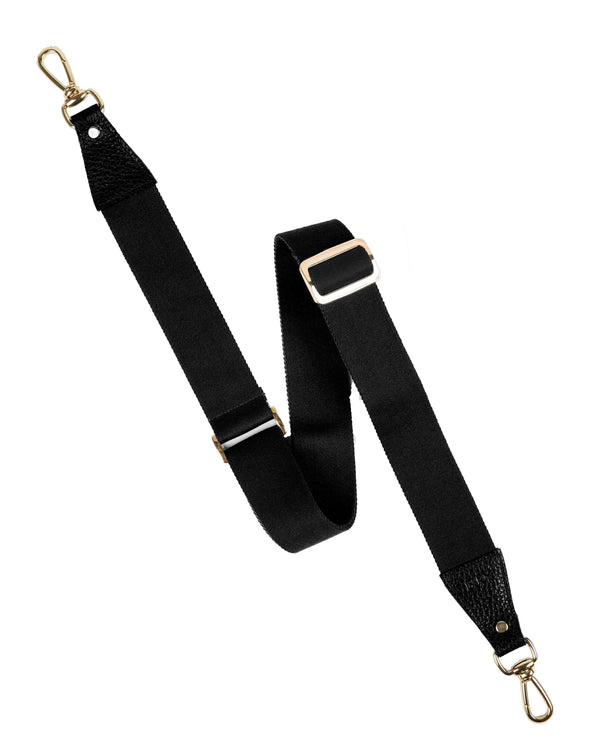 Black shoulder strap with gold details