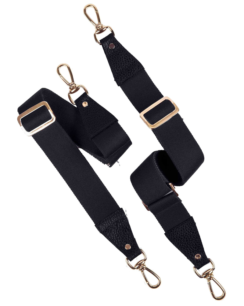 Two black shoulder straps with gold details