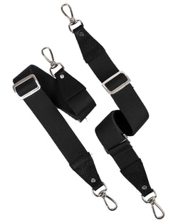 Two black shoulder straps with silver details