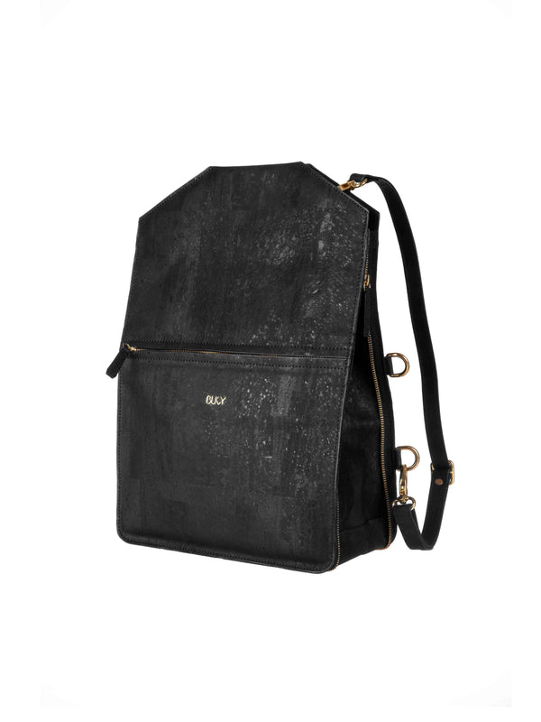 Black multifunctional backpack in cork with gold details