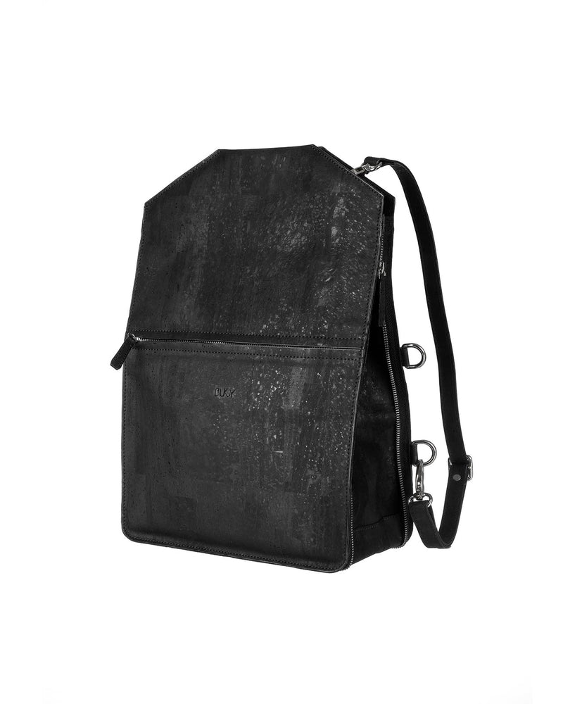 Black multifunctional backpack in cork with silver details