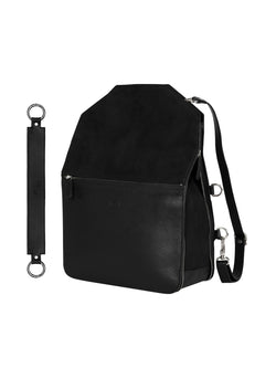 Black backpack with silver details and a wide strap with silver details