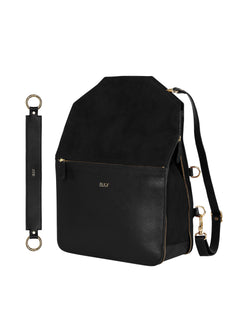 Black multifunctional backpack with gold details and a wide strap with gold details
