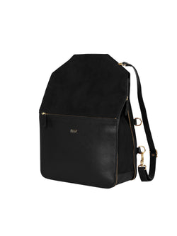 Black multifunctional backpack with gold details