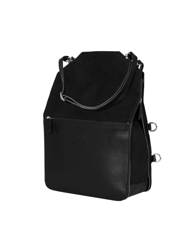 Black multifunctional tote bag with silver details