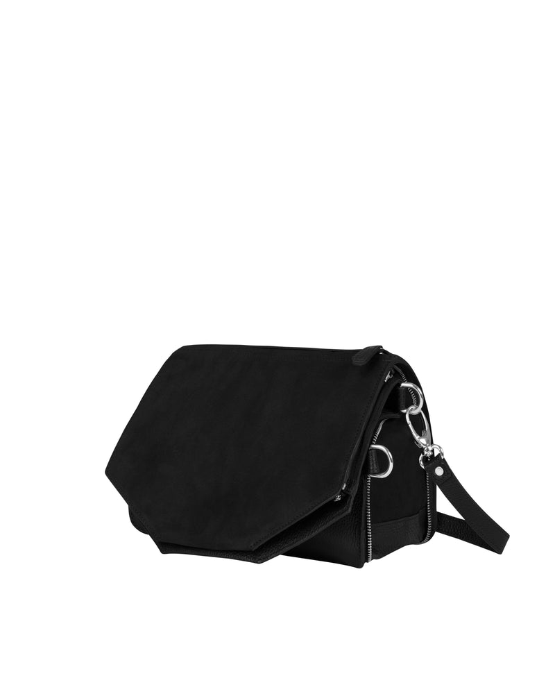 Black multifunctional shoulder bag with silver details