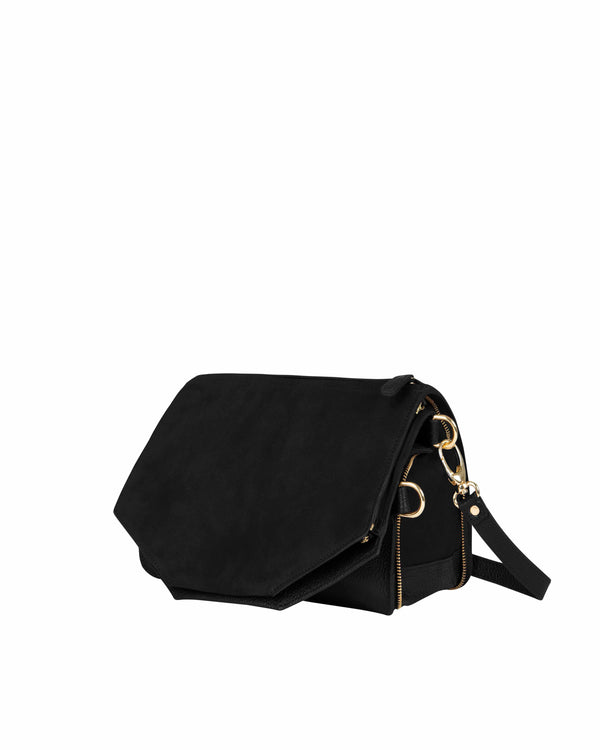 Black multifunctional shoulder bag with gold details