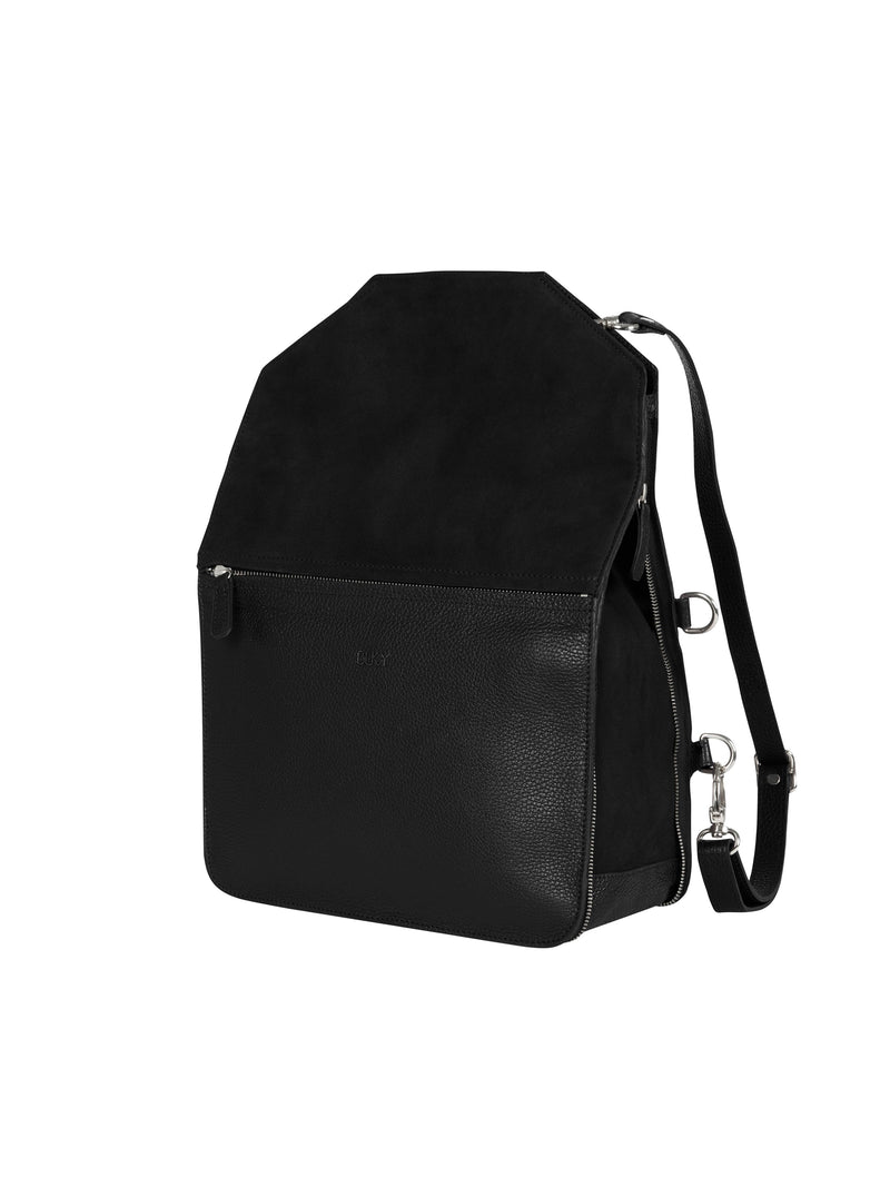 Black multifunctional backpack with silver details