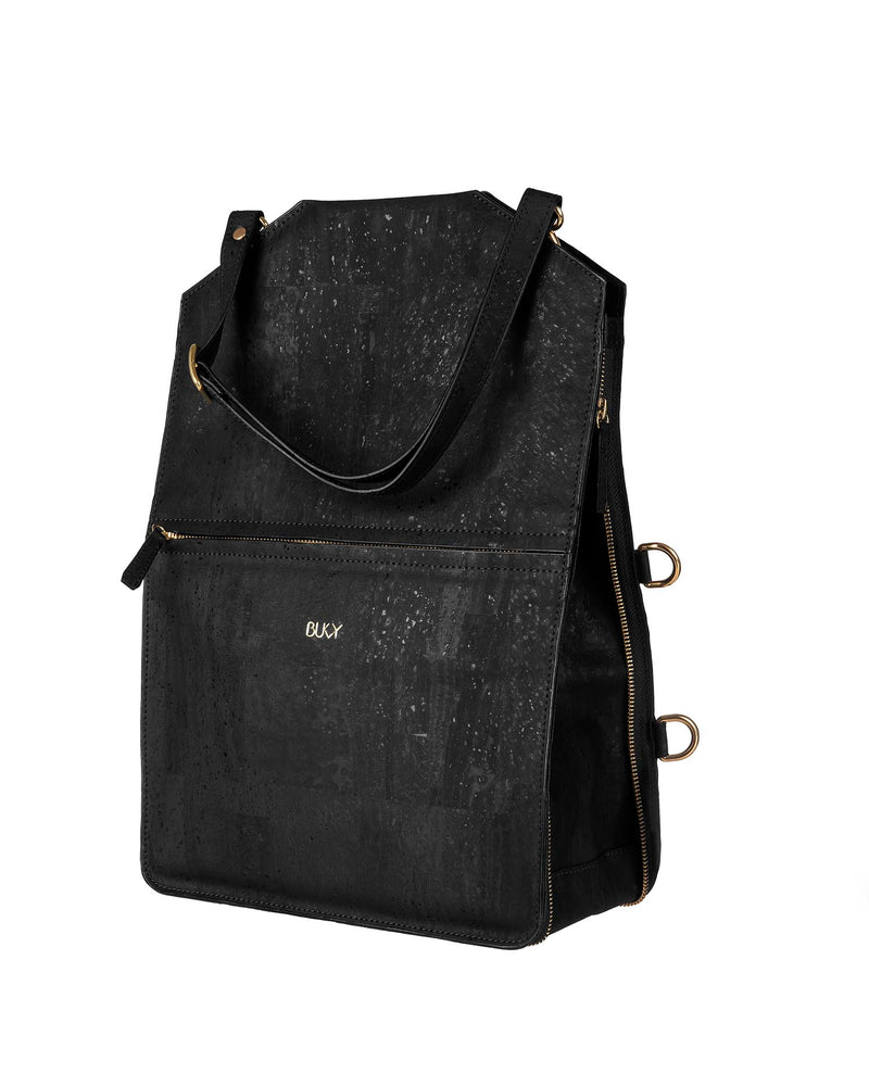 Black multifunctional tote bag in cork with gold details