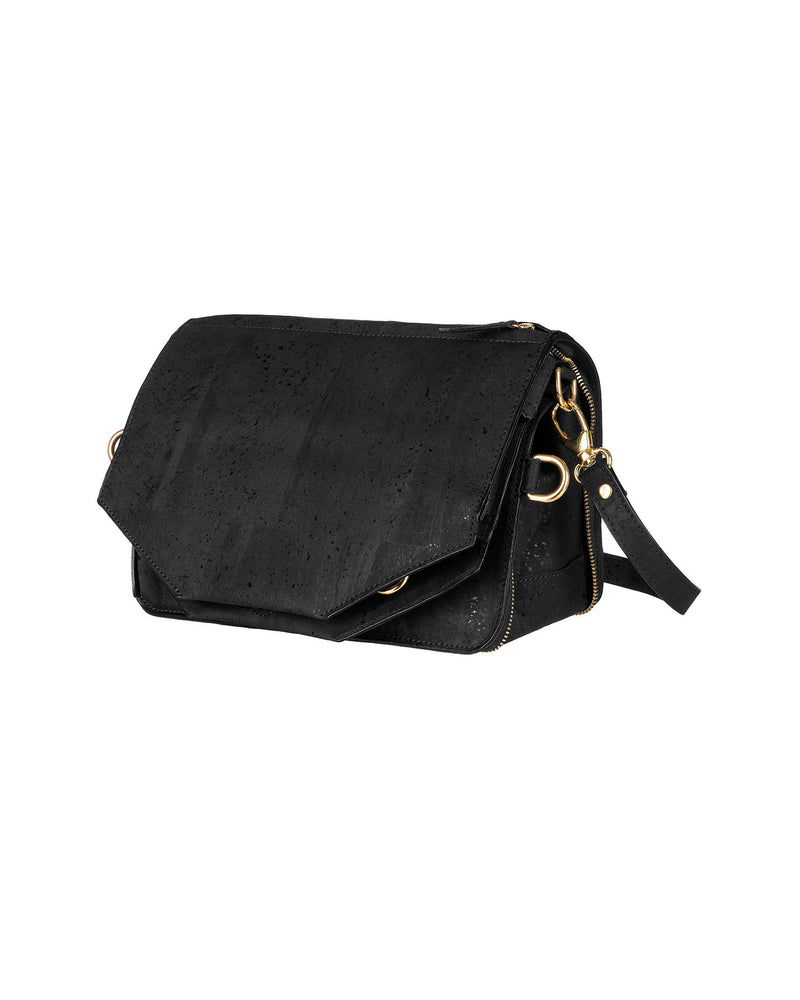 Black multifunctional shoulder bag in cork with gold details