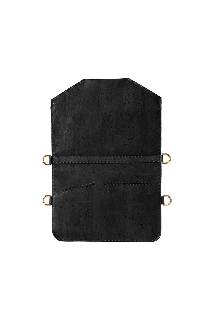Back on black multifunctional backpack in cork with gold details