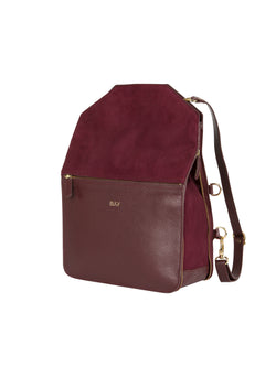 Purple multifunctional backpack with gold details