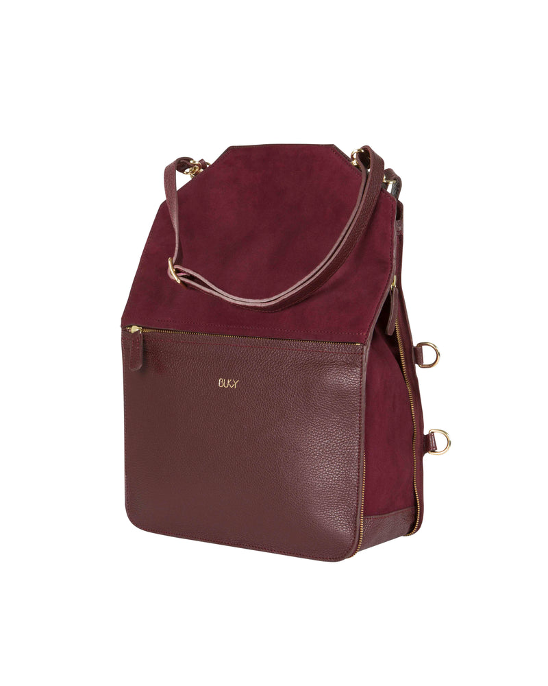 Purple multifunctional tote bag with gold details