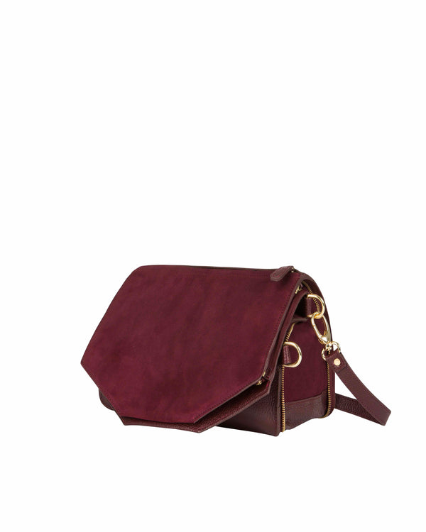 Purple multifunctional shoulder bag with gold details