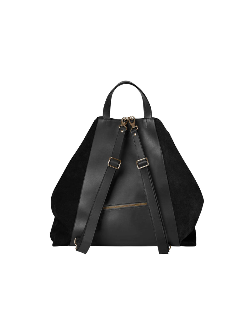 Back on black multifunctional backpack with gold details