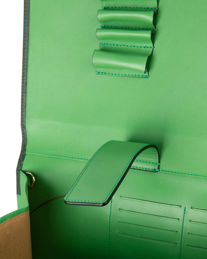 Inside green bag with compartments