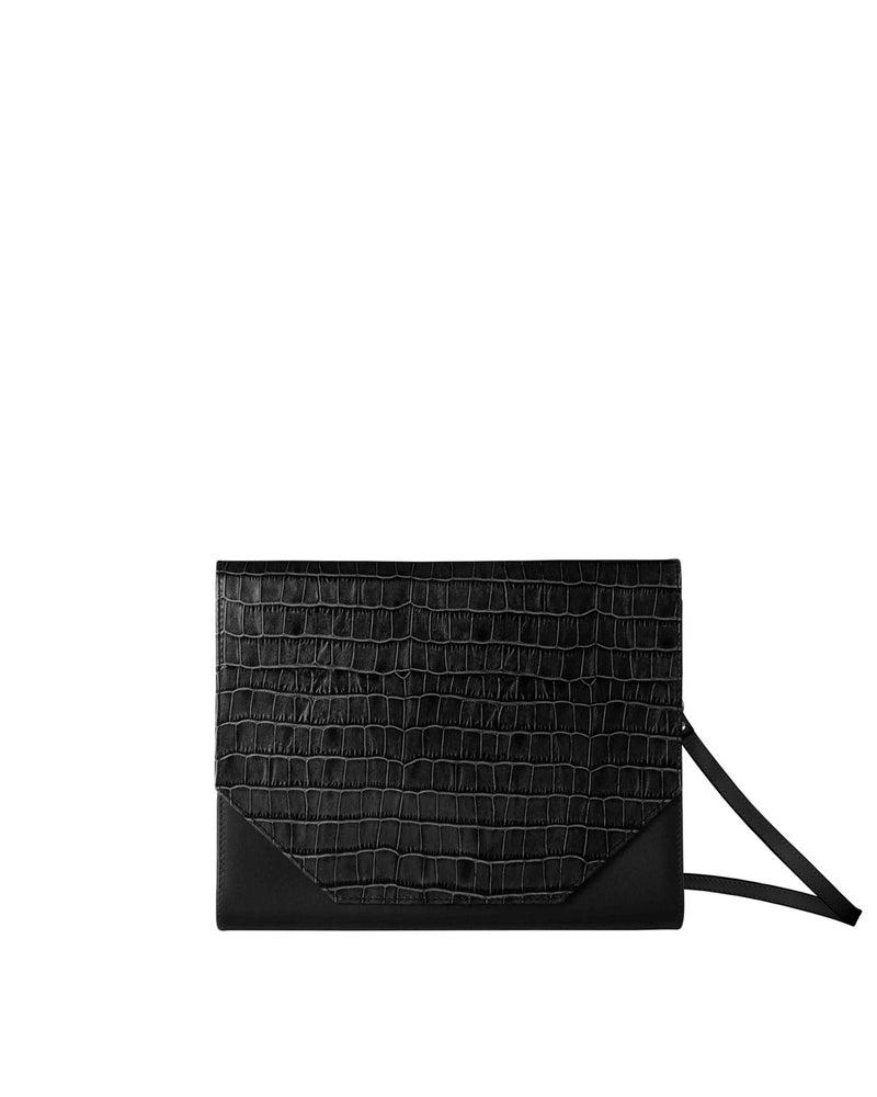 Black multifunctional shoulder bag with croco print