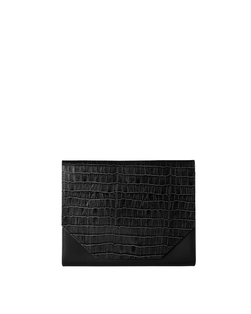 Black multifunctional clutch with croco print