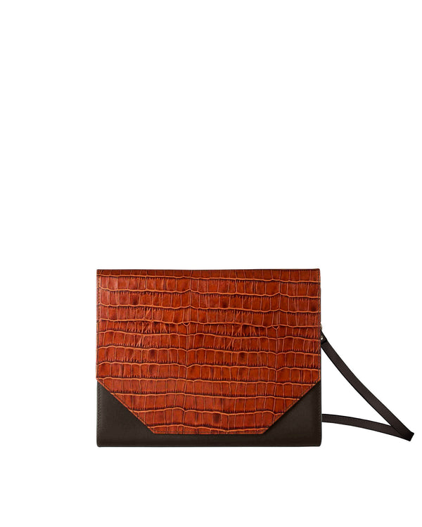 Cognac-colored shoulder bag with croco print