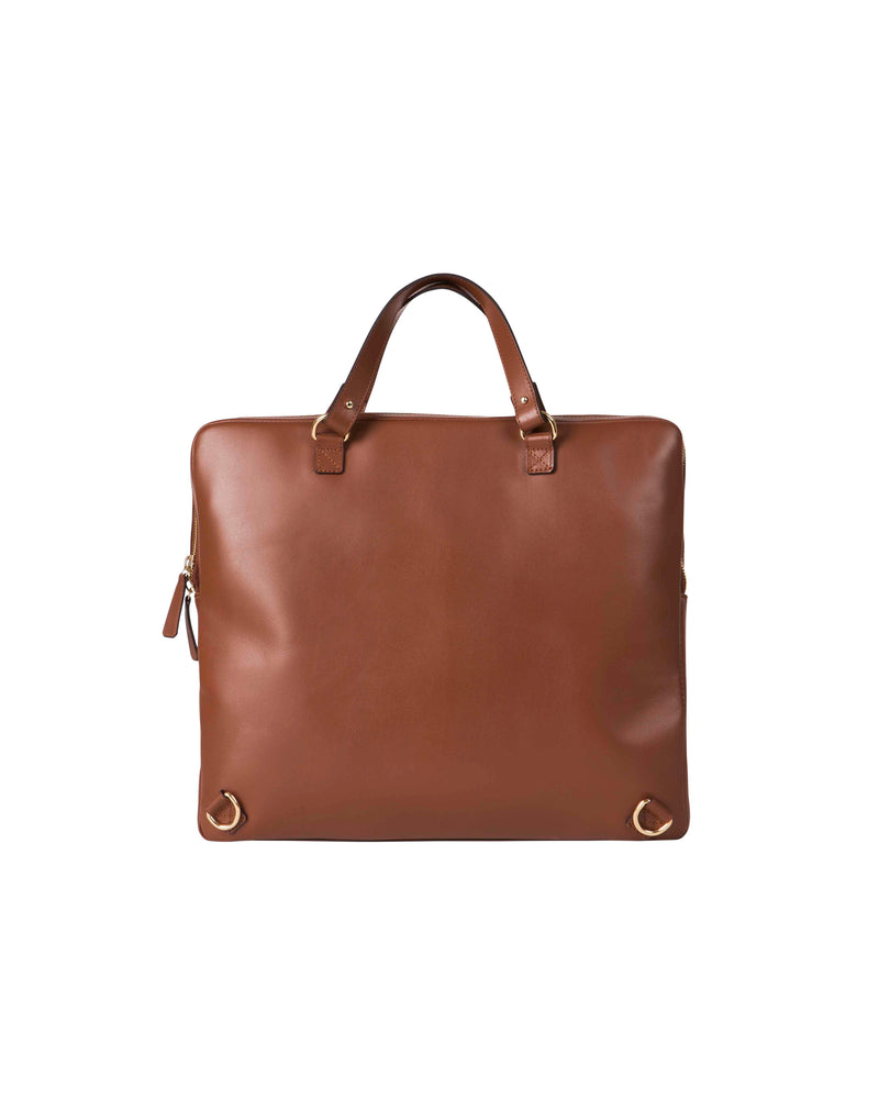 Back on sand-colored multifunctional bag with gold details