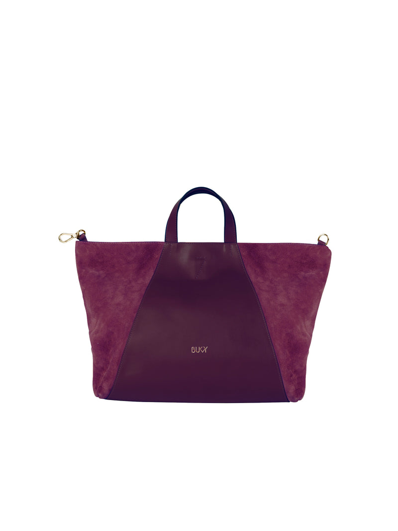 Purple multifunctional bag with gold details