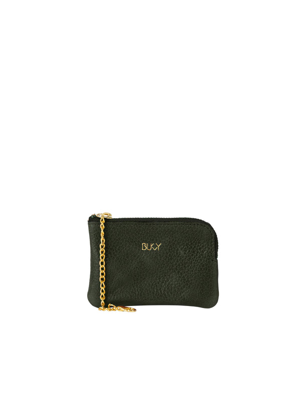 Small green wallet with gold details