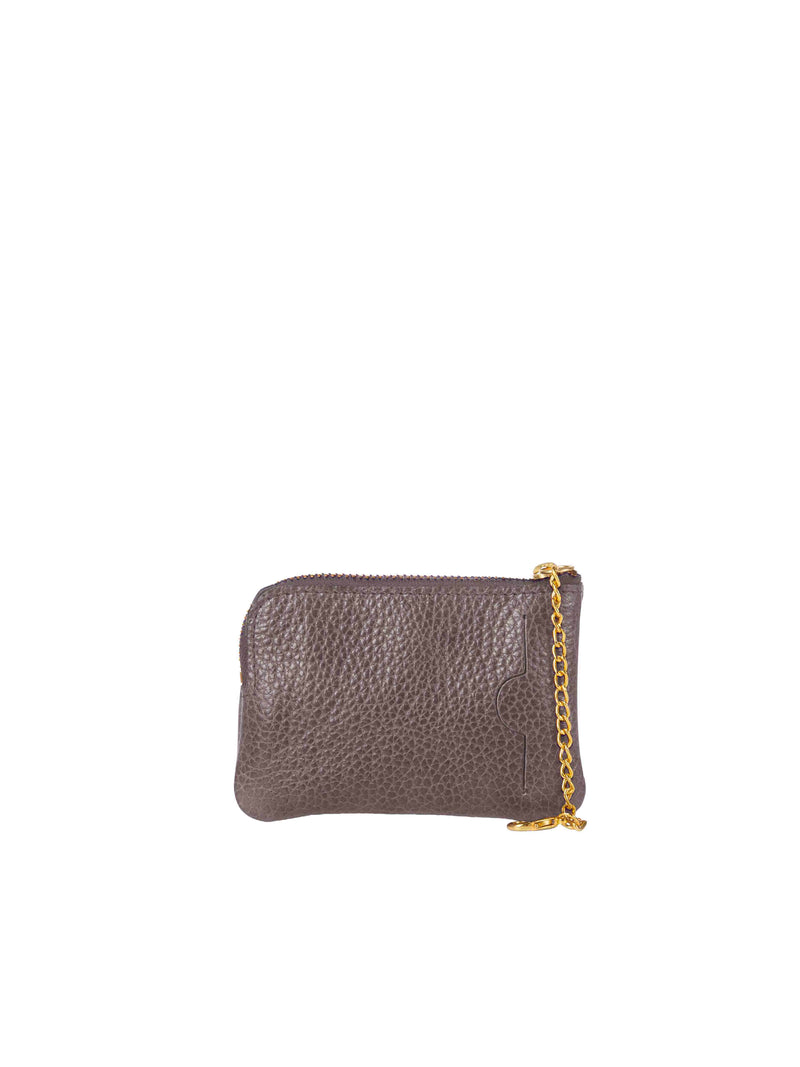 Back on small grey wallet with gold details