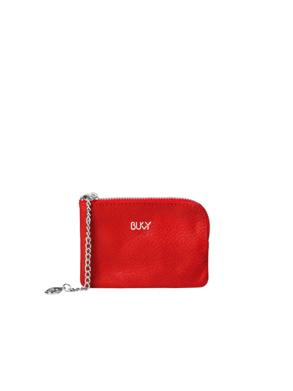 Small red wallet with silver details
